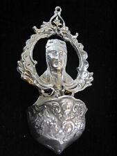 ANCIEN BENITIER ARGENT MASSIF 925 SAINTE VIERGE CHERUBIN PUTTI STOUP SILVER