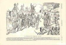 Dessin de Willette Président Paul Kruger à Paris Jeanne d'Arc  GRAVURE 1900
