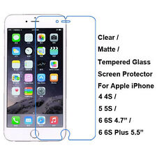 Tempered Glass/Clear/Matte Screen Film Protector For iPhone 4 4S 5 5S 6 6S Plus