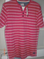 M&S North Coast Henley Top   Coral with thin white stripe notch neck Small BNWT