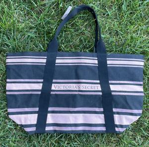 Victorias Secret Tote Black Pink Striped NWT Carry-all Bag Love Victoria