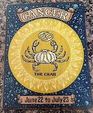 VINTAGE CANCER  Wall Plaque/Sign Wood Horoscope Zodiac BY YORKRAFT INC 1969