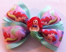 """Girls Hair Bow 4"""" Wide Ariel Little Mermaid Mint Green Grosgrain French Barrette"""
