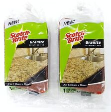 Lot of  2 Scotch-Brite® GRANITE CLEANING PADS Cleans and Shines Countertops 3M®
