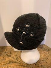 MMA Elite Brim Beanie Hat Gray Black Studded Cross Cap One Size