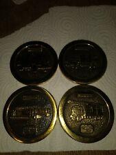 Vintage Schlumberger Brass Coasters-Set Of 4-Rare