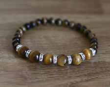 Bracelet with natural 6 and 8 mm  Tiger's eye gemstones