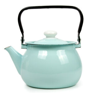 2.7-qt Blue Enameled Steel Kettle Teapot from Ukraine Top Quality Sturdy Durable