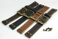 20mm PILOT AVIATOR Air Force Style WW Watch & Chronograph BAND STRAP black brown