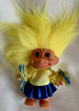 Vintage Troll Doll Russ / Blue Yellow Cheerleader W/ Yellow Hair * New *