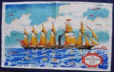 Vintage Retro Souvenir Unused IRISH LINEN Tea Towel - SS GREAT BRITAIN Ship 1843