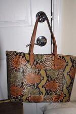 Vegan Leather Pocket Tote XL Shopper Weekend Bag Python/Cognac