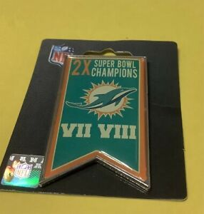 MIAMI DOLPHINS 2X SUPER BOWL CHAMPIONS COLLECTOR BANNER PIN