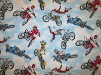 MOTOCROSS MOTORCYCLE DIRT BIKE RACING BLUE COTTON FABRIC FQ