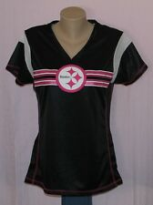 Womens Pittsburgh Steelers Primary Logo V-Neck Jersey T-Shirt Black/Pink M