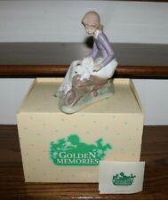 Golden Memories Girl with Bunnies Rabbits Making Friends #33001 - Nib