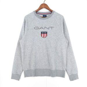GANT Grey Big Shield Logo Crew Neck Jumper Sweater Size L