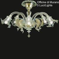Plafoniera in Vetro di Murano Certificato -1005/PL5 Cristallo Oro-Mont. Oro 24k