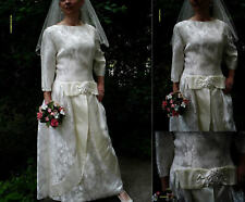 Vintage Original 50s Ivory Brocade Satin Long Wedding Dress. Size 12/14 Mad Men.