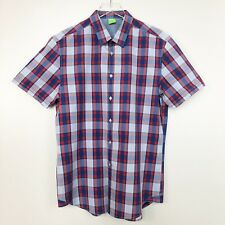 Hugo Boss Men Shirt Green Label Bastiano Short Sleeve Blue Red Plaid Button Down