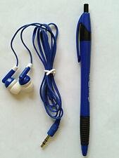 Earbud Headphone and Pen Travel Set, Blue/White