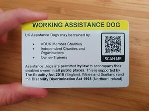 Assistance Dog UK Law EHRC QR Code Service Dog Guide Dog NOT an ID Card