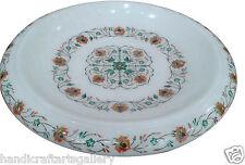 White Marble Fruit Bowl Flower Shape Malachite Floral Table Decor Gifts H1876