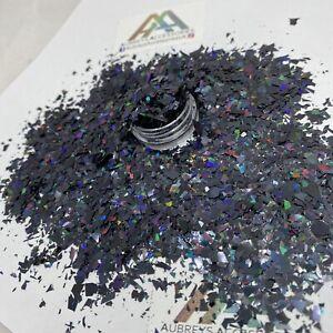 BLACK HOLO IRREGULAR SHAPE FLAKED GLITTER NEW UNICORN HAIR FACE BODY NAIL MYLAR