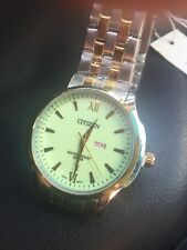 citizen Day/date Beautiful Light Green Face Water Resistant,Stainless Steel Band