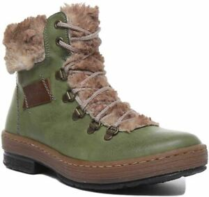 Rieker Z6743 W Lace Up Warm Line Ankle Boot In Green Size Uk 3 - 8