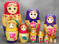 Russian Matryoshka 10 Nest Doll Girl w//Strawberry  Crafts Hand Painted Signed