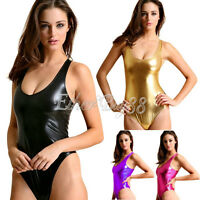 Fashion Women's Gothic Punk Metallic V Romper Teddy Bodysuit Swimsuit One Piece
