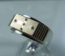 9k yellow gold and sterling silver Eureka style gents ring solid