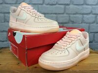 NIKE UK 4 EU 37.5 PEACH AIR FORCE 1 07 LEATHER TRAINERS PINK LADIES CHILDRENS LD