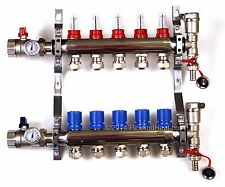5 branch PEX Radiant Floor Heating STAINLESS STEEL Manifold Kit 1/2 LEAK-PROOF