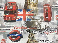 London Bus Big Ben Tower Bridge London Underground Curtain Upholstery Fabric