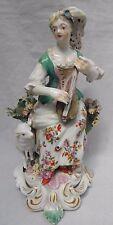 Derby Figure 18th Century British Porcelain Idyllic Musician Female Height 19cm