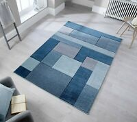 COSMOS BLOCKS DENIM BLUE COLOURED HAND CARVED RUG  IN VARIOUS SIZES & RUNNER