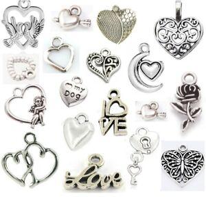 LOVE & HEARTS Tibetan Silver CHARMS Necklace Bracelet Jewellery Making Gift UK
