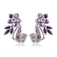 Purple White Zircon Floral Drop/Dangle Earrings 10K White Gold Filled Engagement