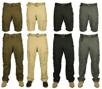 KAM Mens Trousers Shorts 2 In 1 Casual Cargo Combat Pants Walking Big King Sizes