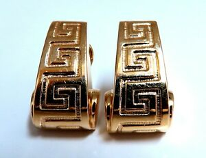 14kt Gold Textured Greek Iconic Clip Earrings