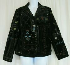 Womens Chico's Velvet Embroidered Snap Studs 1 M 8 Jacket Collared Lined Blazer
