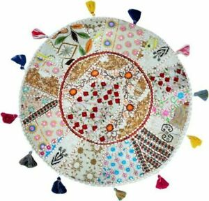 Top Quality Indien Cotton Round Floor Pillow Foot Stool Ottoman Seatin Cover Art