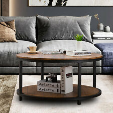 Round Coffee Table 2-Tiers Sofa Table with Storage Shelves Living Room Furniture
