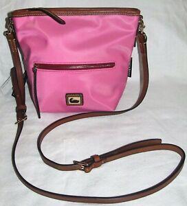 Dooney & Bourke Wayfarer Pink Nylon Vacchetta Leather Small Hobo Crossbody Bag