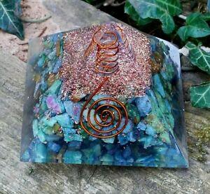 Reiki Energy Chrysocolla & Clear Quartz Large Crystal Orgone Orgonite Pyramid