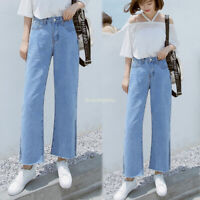 Women Loose Casual Wide Leg Denim High Waist Jeans Slim Side Slit Pants Trousers
