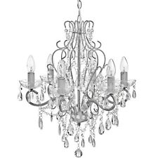 TRADITIONAL DROP CRYSTAL CHANDELIER IN BRUSHED GREY  - HANG FROM THE CELLING