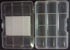 "SMALL CLEAR STORAGE ORGANIZER CASE 7""X5""X1"" 11 Compartments Lock-Top"